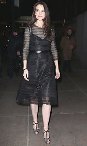 Katie Holmes kept to her 'girl-next-door' style with this classic LBD.
