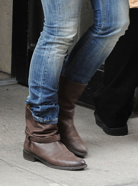 More Pics of Katie Holmes Motorcycle Boots (1 of 8) - Boots Lookbook - StyleBistro