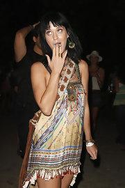 Katy showcased printed minx nails while attending Coachella.