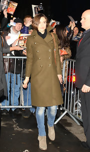 Keira Knightley greeted fans in a pair of taupe suede Pistol ankle boots.