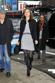 Keira's sheer tights added a fun layered element to her look.