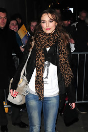 Keira Knightley was spotted leaving the Comedy Theatre wearing a bright pink shade of lipstick.