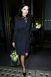 Kelly Brook made strides in class patent platform pumps. The mary jane styling of the shoes gave her look a girlie finish.
