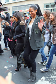 Ciara completed her military look with suede All Over Crystal Accent boots, while spending some time with BFF Kim Kardashian.