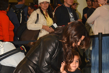 Kim Kardashian Mason Disick Kim Kardashian and Family at the Airport