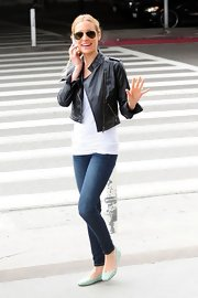 We had major leather jacket envy when we spotted Kristin in this cute cropped style after landing in LA.
