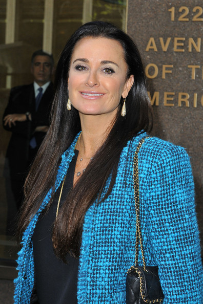 Kyle Richards stuck to her signature long chocolate tresses for a visit to NYC.