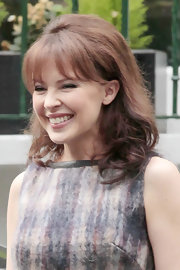 Kylie Minogue went back to the 60s for a little hairstyle inspiration at the Abbey Road Studios in London.