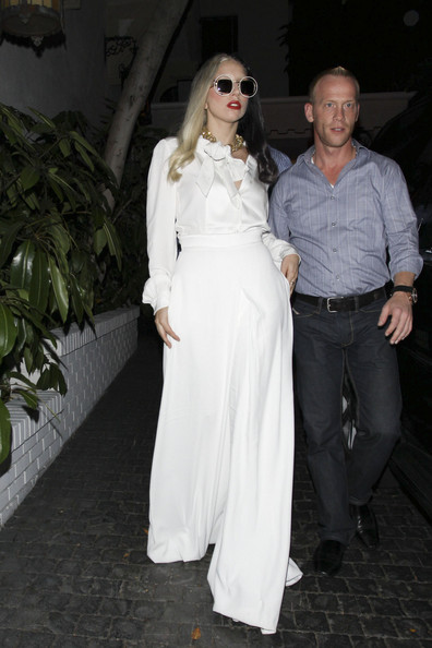 920f0c1c33b8 Lady Gaga Steps Out in a White YSL Jumpsuit - Celebrity Clothes ...