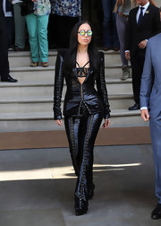 Lady Gaga stepped out looking dramatic as ever in a fully-sequined black suit.
