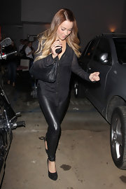 Lauren Conrad was out and about in an all-black ensemble, complete with classic black platform pumps.
