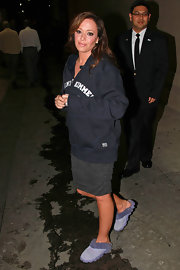 "Leah left the set of ""Jimmy Kimmel Live"" in cozy sheepskin slippers and a sweatshirt we assume given to her by the host."