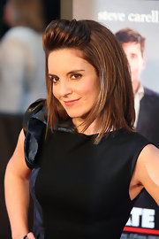 Funny girl Tina Fey gave her mid-length bob a makeover by pumping up the volume. She pulled her straight bangs back into a small poof.