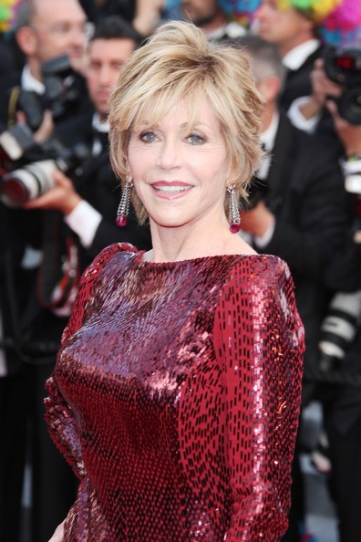 Jane Fonda arrived at the 'Madagascar 3' premiere wearing a pair of rubellite and black and white diamond drop earrings.