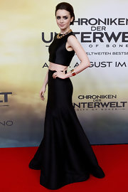 Lily chose a chic crop top and flowing skirt for the premiere of 'The Mortal Instruments: City of Bones.'