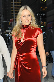 Lindsey Vonn wore her long blond locks in tousled waves during an appearance on the 'Late Show With David Letterman.'