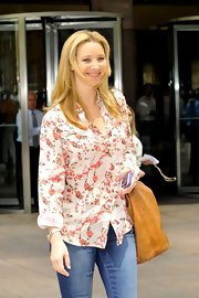 Lisa Kudrow was casual and sweet in a floral button-down when she visited Sirius Radio in NYC.