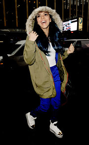 Jade Thirwall chose a trendy utility jacket with fur-trimmed hood for her look while out in NYC.