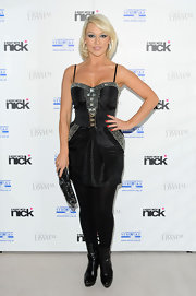 Kristina Rihanoff gave her embellished LBD a touch chic edge with black leather ankle boots.