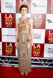 Keira Knightley looked regally romantic in this embroidered nude gown at the LA Film Festival.