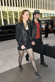 Lzzy Hale rocked a punk-inspired look with this classic black leather jacket.