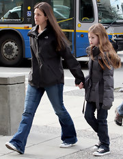 Mackenzie Foy's puffa jacket kept her looking comfy and warm.