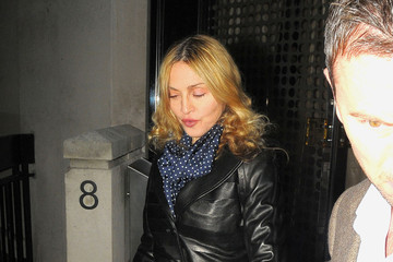 Madonna Wears a Leather Trenchcoat in London