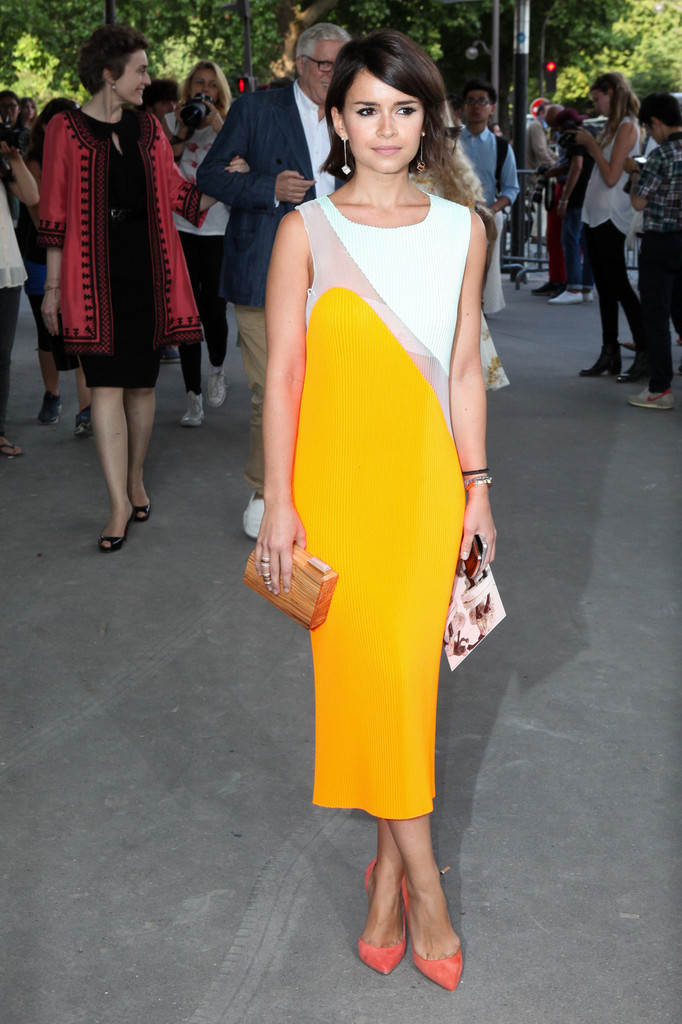 Miroslava Duma arrives at Giambattista Valli Haute Couture Fall-Winter 2013-2014 fashion show in Paris.