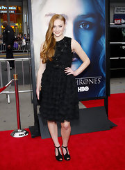 Sophie Turner knew that sometimes all you need is a little black dress. The actress sported this LBD with floral appliques and a full skirt.
