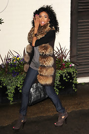 Michelle Williams was spotted heading to the 'X Factor' studios in a fur vest.