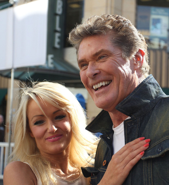 "International star David Hasselhoff and his girlfriend Hayley Roberts make an appearance on the hit talk show ""Extra"" in Los Angeles"