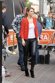 Maria Menounos showed off her trim legs on the set of 'Extra' in skinny leather pants.
