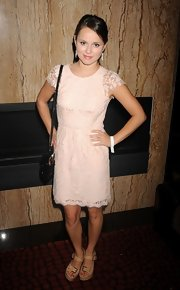 Sasha Cohen was a doll in this pink lace dress at the 'Hamptons Magazine' launch.