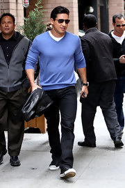 Mario Lopez chose a purple V-neck to sport while out in NYC.
