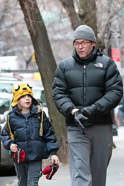James Broderick wore a playful yellow earflap beanie to school.