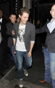 "Matthew Morrison wore this ""Icon"" t-shirt under a blazer while out in London."