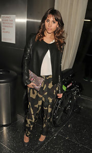Rachel Heller opted for a rocker-inspired look with these funky camouflage harem pants.