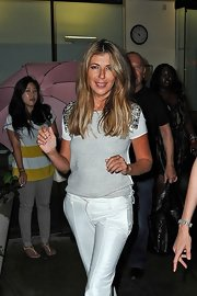 Nina Garcia was spotted in New York City looking casual yet fab in an embellished gray shirt.