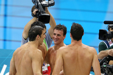 Michael Phelps Ryan Lochte The USA swim team led by Michael Phelps win the gold medal over the French in the 4x200m relay race at the Aquatic Centre in the Olympic Park, London
