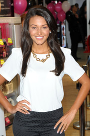 Michelle Keegan styled a plain white blouse with a chic gold chain necklace for the Sally Salon opening.