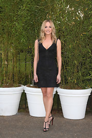 Joanne Froggatt sported a sleeveless LBD with tapestry embroidery.