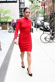 Michelle Rodriguez looked amazing on the streets of NYC in black pointy pumps and an elegant red dress.