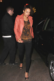 Michelle Rodriguez stepped out at Chateau Marmont in a pair of black peep-toes and a chic leather jacket.