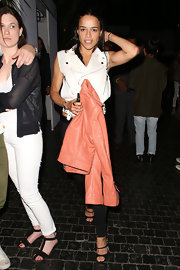 Michelle Rodriguez complemented her edgy outfit with a pair of sexy black strappy sandals during a night out at Chateau Marmont.