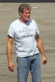 David makes a funny statement with his 'Don't Hassel The Hoff' tee.