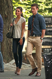 Justin paired his button down shirt and striped tie with simple khaki pants.