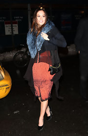 "Leighton Meester carried a studded black leather shoulder bag to an after party for ""The Roommate."""