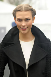 Karlie Kloss sported a romantic twisted updo during Mercedes-Benz Fashion Week.