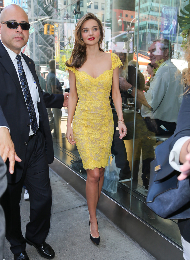 Miranda Kerr Hangs Out in Time Square