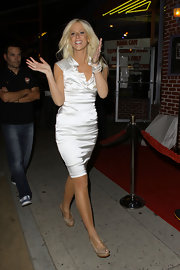 Michaele Salahi teamed her sophisticated satin cocktail dress with taupe leather peep-toes at the Ha Ha Comedy Club.